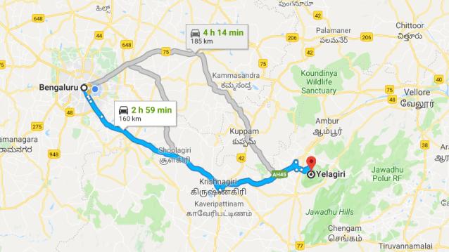 Bangalore to Yelagiri
